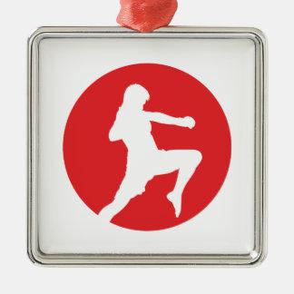 Ninja Fighter - martial ones kind Silver-Colored Square Ornament
