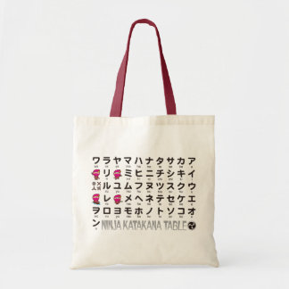Ninja Girl Japanese Katakana table Tote Bag