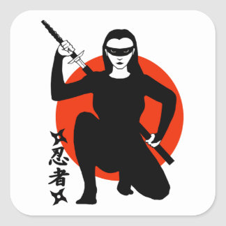 Ninja Girl Square Sticker
