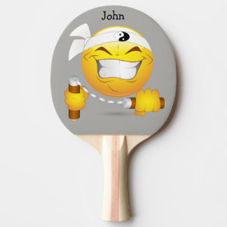 Ninja Happy Face in Yellow Personalized Ping Pong Paddle