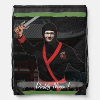 Ninja Japanese Warrior - with YOUR Photo & Text - Drawstring Bag