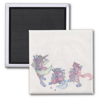 ninja kitties square magnet