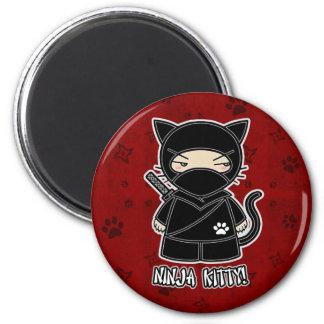 Ninja Kitty In Red Magnet