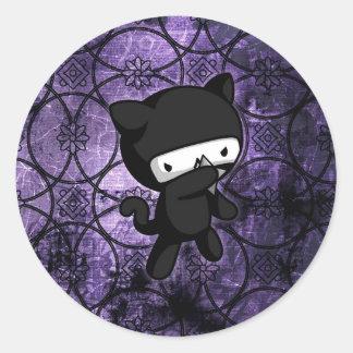 Ninja Kitty Round Sticker