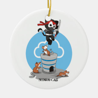 Ninja Kitty with Mice Ceramic Ornament