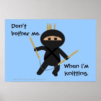 Ninja Knitter with Circular Needles Poster