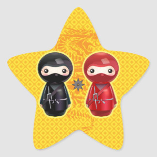 Ninja Kokeshi Star Sticker