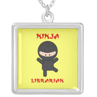 Ninja Librarian Silver Plated Necklace