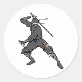 Ninja ~ Ninjas 2 Martial Arts Warrior Fantasy Art Classic Round Sticker