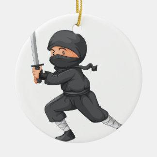 Ninja on white round ceramic ornament