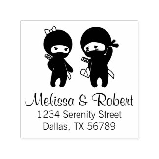 Ninja Pair, a Boy and a Girl Address Self-inking Stamp