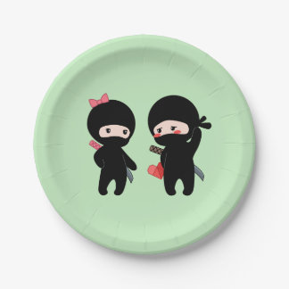 Ninja Pair, a Boy and a Girl on Green Paper Plate