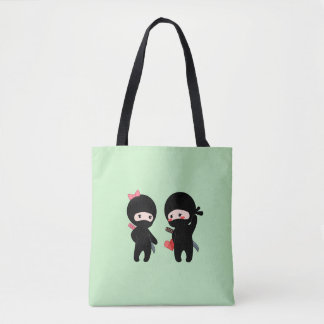 Ninja Pair, a Boy and a Girl on Green Tote Bag