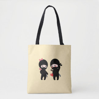 Ninja Pair, a Boy and a Girl on Yellow Tote Bag