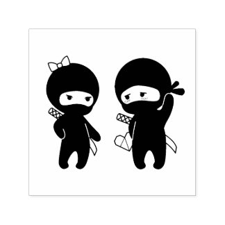 Ninja Pair, a Boy and a Girl Self-inking Stamp