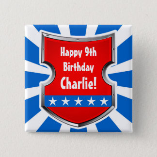 Ninja Patriotic Warrior Boys Kids Birthday Party 2 Inch Square Button
