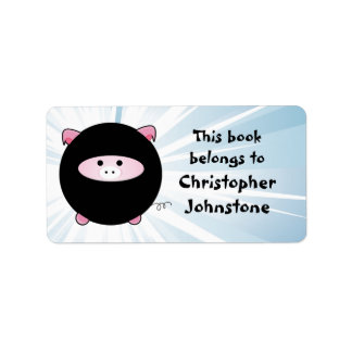 Ninja Pig on Blue Bookplate Labels