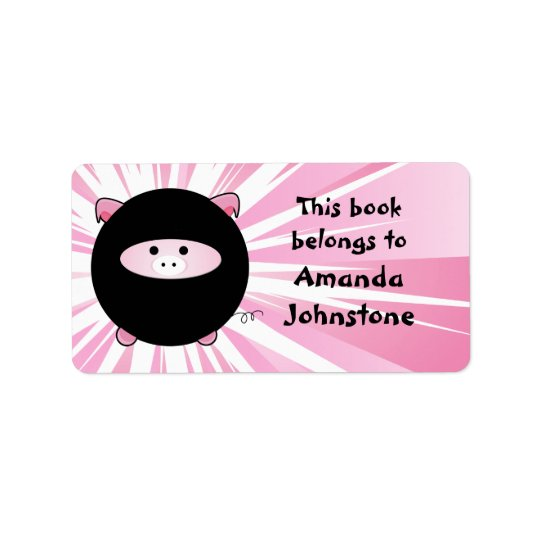 Ninja Pig on Pink Bookplate Label
