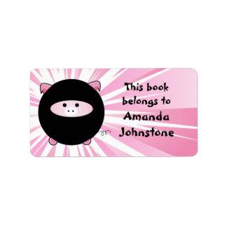 Ninja Pig on Pink Bookplate Labels