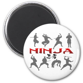 Ninja Pose Silhouette Fridge Magnets