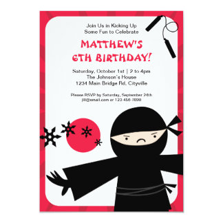 Ninja Power Red Invitation