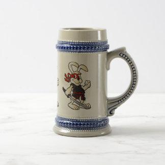 ninja rabbit cartoon beer stein