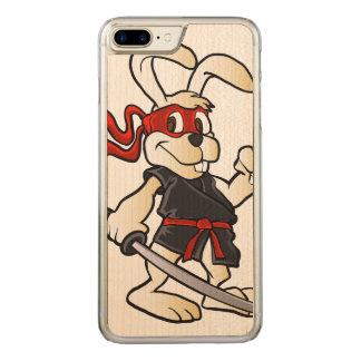ninja rabbit cartoon carved iPhone 8 plus/7 plus case