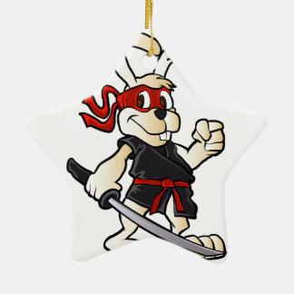 ninja rabbit cartoon ceramic star ornament