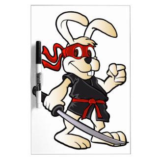 ninja rabbit cartoon dry erase white board