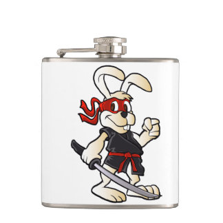 ninja rabbit cartoon flask