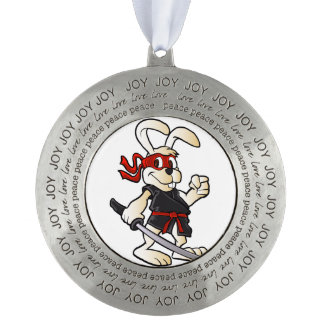 ninja rabbit cartoon round pewter ornament
