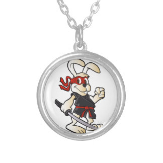 ninja rabbit cartoon silver plated necklace