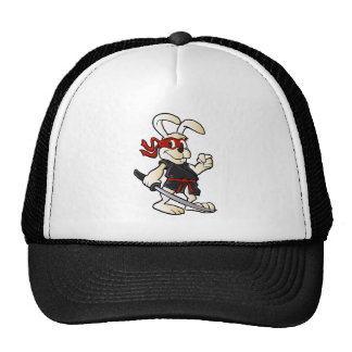 ninja rabbit cartoon trucker hat