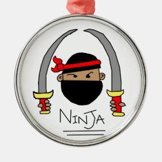 Ninja Range Silver-Colored Round Ornament