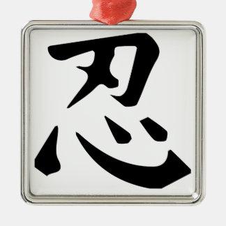 Ninja Silver-Colored Square Ornament