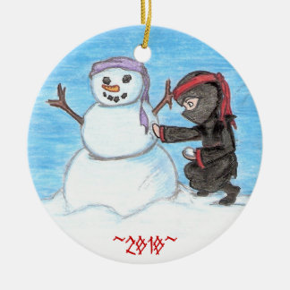 Ninja Snowman Round Ceramic Ornament