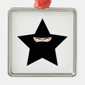 Ninja Star Silver-Colored Square Ornament