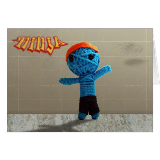 Ninja String Doll in Blue Cute Graffiti Image Card