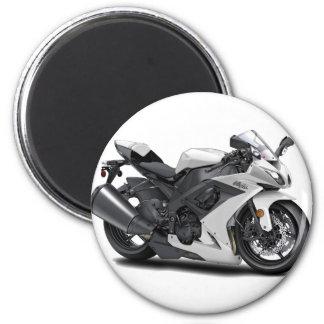 Ninja White Bike 2 Inch Round Magnet