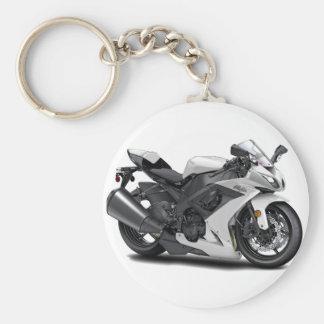 Ninja White Bike Keychain