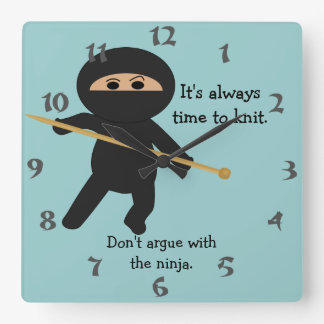 Ninja With Knitting Needle Wall Clock