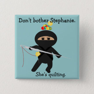 Ninja with Sewing Needle 2 Inch Square Button