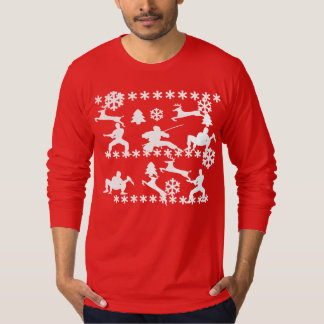 Ninjas & reindeer fighting ugly Christmas shirt