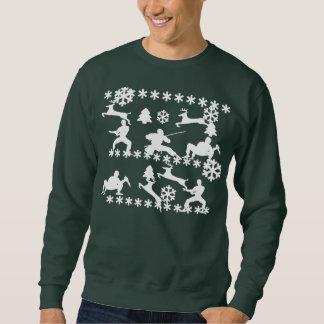 Ninjas & reindeer fighting ugly Christmas sweat 2 Sweatshirt