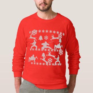 Ninjas & reindeer fighting ugly Christmas sweater