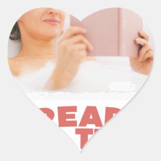 Ninth February - Read In The Bathtub Day Heart Sticker
