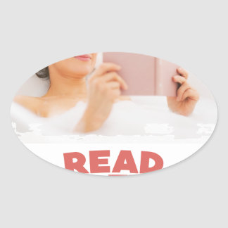 Ninth February - Read In The Bathtub Day Oval Sticker