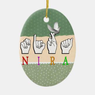 NIRA FINGERSPELLED ASL NAME SIGN CERAMIC ORNAMENT