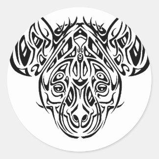 Nire's Hyena Tribal Design Classic Round Sticker