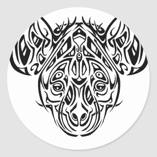 Nire's Hyena Tribal Design Classic Round Sticker